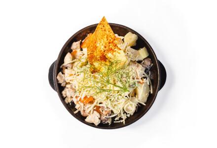 Картопля на гарячiй сковородi зі свіжими печерицями фото 2